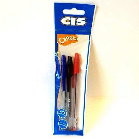 Caneta Esferografica - Kit com 3 Caneta - caneta azul- caneta vermelha - caneta preta - Esferografica - CIS 8918