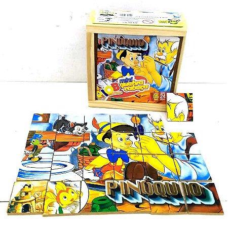 Jogo Pedagogico Brinquedo Educativo IOB Madeira - Quebra Cabeca PINOQUIO - Caixa de Madeira - Mini - Ref.101