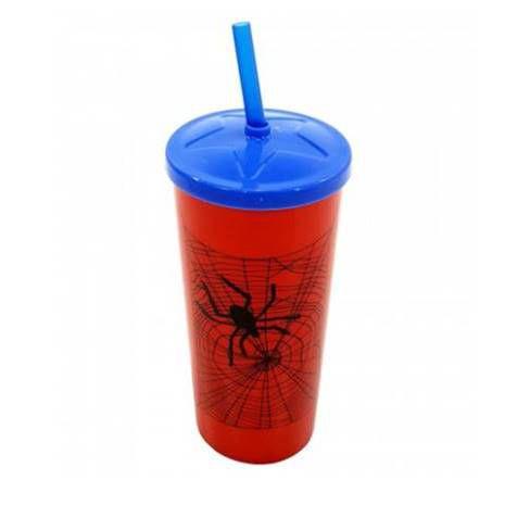 Copo plastico com canudo Homem Aranha 16 cm - 600 ml - Injetemp - Ref.9652