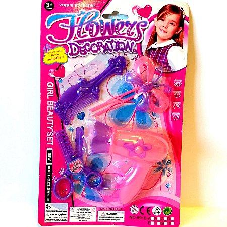 Kit de Beleza de cabelo - Secador Infantil com acessorios ou Escova e espelho infantil- Altimix - AB7229