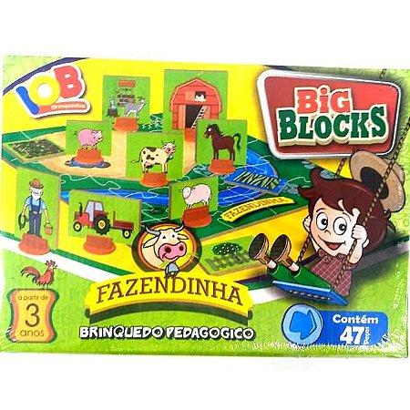 Jogo Pedagogico Brinquedo Educativo - Big Block Fazendinha - IOB Madeira Ref.17