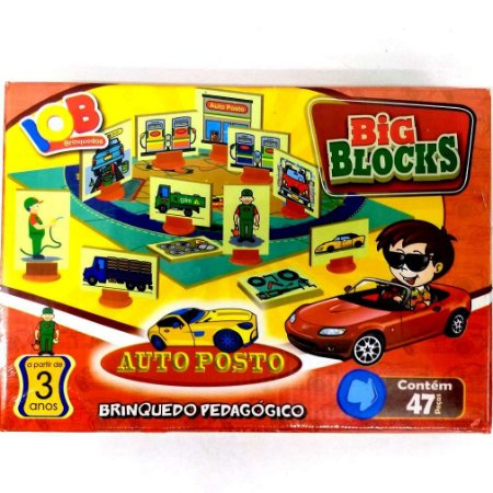Jogo Pedagogico Brinquedo Educativo - Big Blocks  AUTO POSTO - IOB Madeira Ref.51