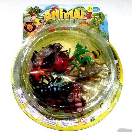 Bichinhos de brinquedo - INSETOS - com 12 animais - Ref. BA10591
