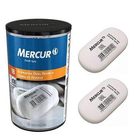 Borracha Oval branca escolar MERCUR - Pote com 18  borracha escolar Oval - Ref.7290