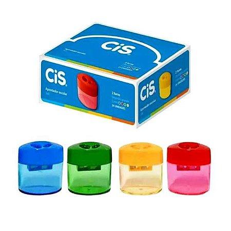 Apontador Escolar com Deposito Jumbo - com 2 furos - CAIXA com 12 - cores sortidas - CIS 346 - Ref.6439
