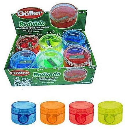 Apontador Escolar com Deposito REDONDO GOLLER - CAIXA com 12 - cores sortidas -5239
