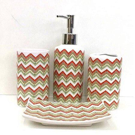 Jogo de Banheiro em ceramica -Zig Zag - com 4pc - Ref.319 - Susan
