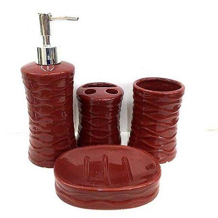 Jogo de Banheiro em ceramica - Textura Vinho - com 4pc - Ref 337 - Susan