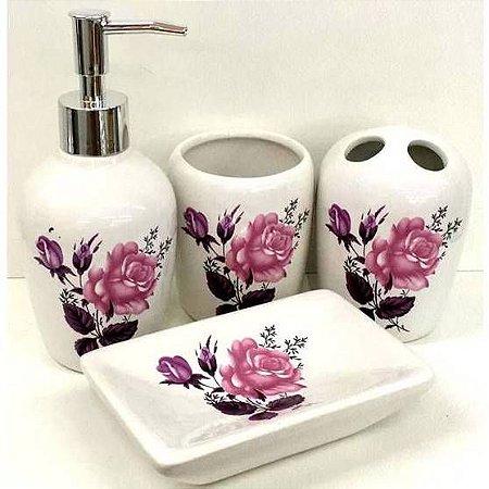 Jogo de Banheiro em ceramica - Botoes de Rosa - com 4pc - Ref.301 - Susan