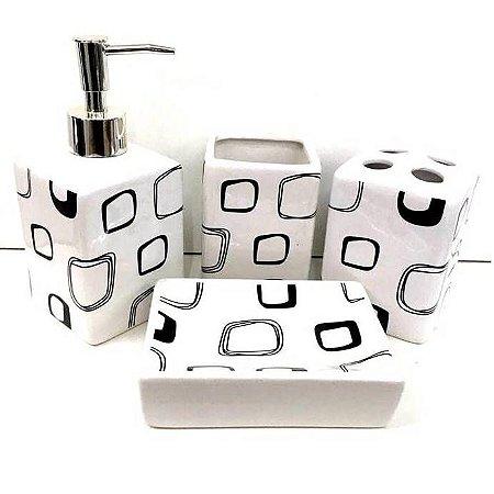Jogo de Banheiro em ceramica - SQUARE PB - com 4pc - Ref.311 - Susan