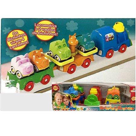 Trenzinho Colorido Baby Animal 7 pecas -Brinquedo Educativo Divplast Ref.554