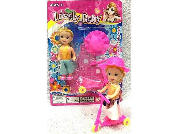 Boneca Patinadora com Chapeu e Patinete - 10 cm - SD18095