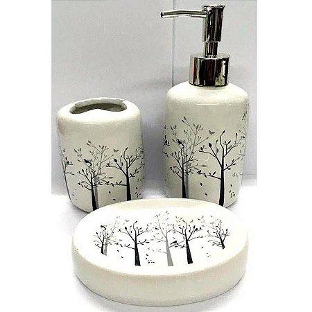 Jogo de Banheiro em ceramica - Floresta - com 3pc - Ref LQ307 - Susan