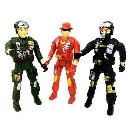 Boneco Articulado - Policial - Soldado - Bombeiro - sortido - com 17 cm - ASH-153965 Shock