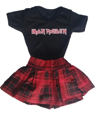 Kit Body Iron Maiden + Saia Xadrez Vermelha