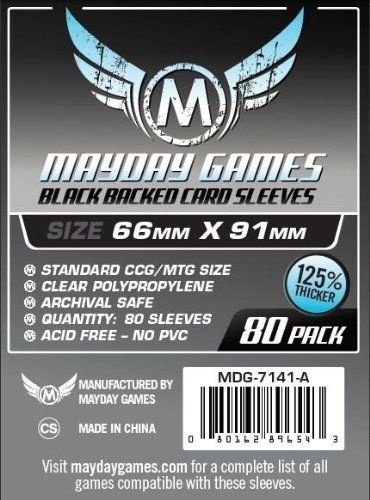Sleeves Mayday (66x91mm) - Premium Protection Black Backed (com 80 protedores de cartas)