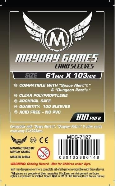 "Sleeves Mayday ""Space Alert"" & ""Dungeon Petz"" Card Sleeves (61x103mm) - Standard Protection (Com 100 protetores de cartas)"