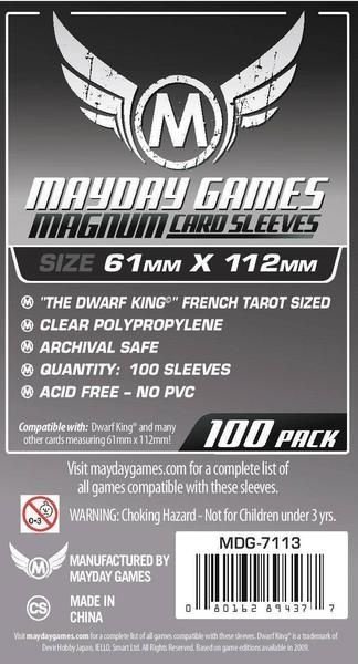 """Sleeves Mayday """"Dwarf King"""" French Tarot Card Sleeves - Magnum (61x112mm) - Standard Protection ( Com 100 protetores de cartas)"""
