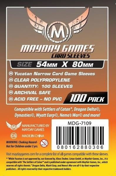 Sleeves Mayday Yucatan Card Sleeves - Narrow (54x80mm) - Standard Protection (Com 100 protetores de cartas)