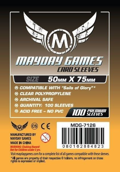 """Sleeves Mayday """"Sails of Glory"""" Card Sleeves (50x75mm) - Standard Protection (Com 100 protetores de cartas)"""