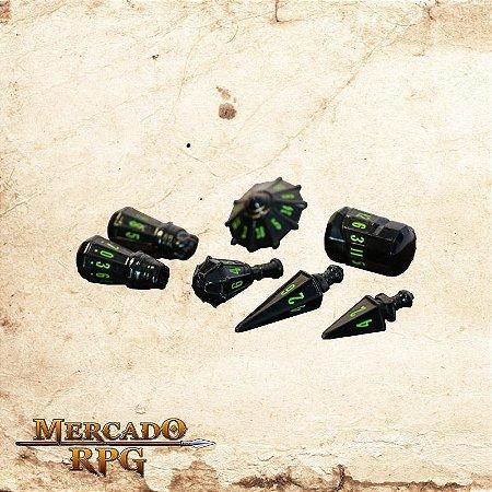 Poly Hero Dice - Black & Goblin Green