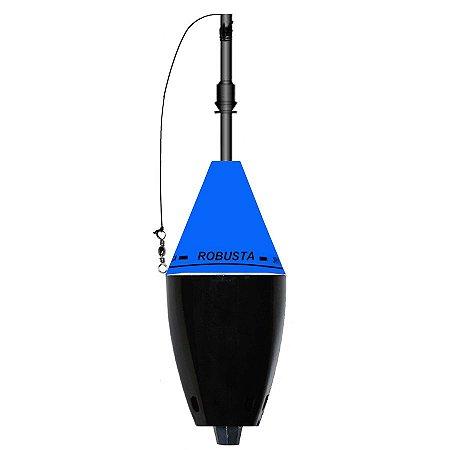 Boia Cevadeira JR Pesca Robusta 65g Copo Preto com Amortecedor Azul