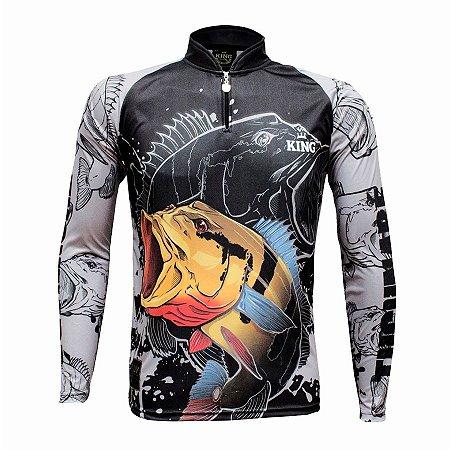 Camiseta de Pesca King KFF608 Tucunaré Proteção Solar UV 50+