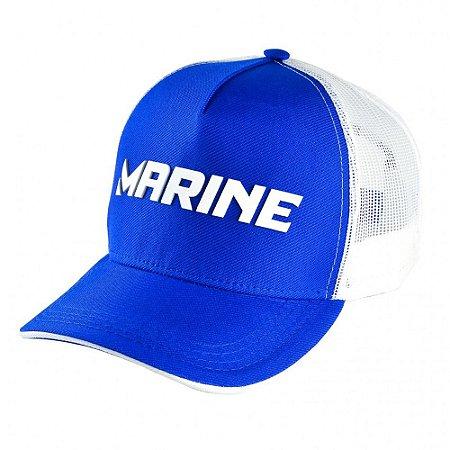 Boné de Pesca Marine Americano Pescador Azul Snapback Tela