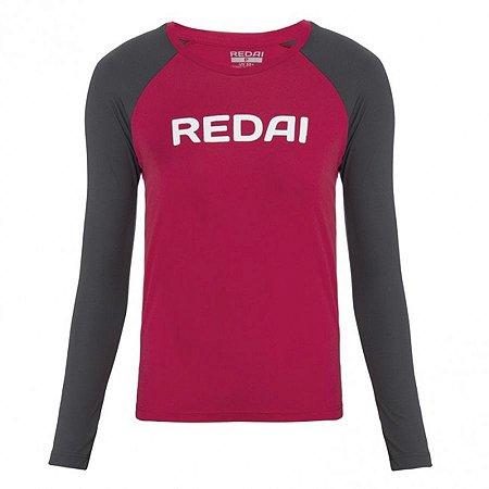 Camiseta de Pesca Feminina Redai Perfomance Raglan Vermelha