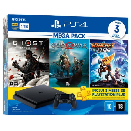 Ps4 Slim 1 TB Mega Pack + God Of War + Ratchet And Clank + Ghost Of Tsushima