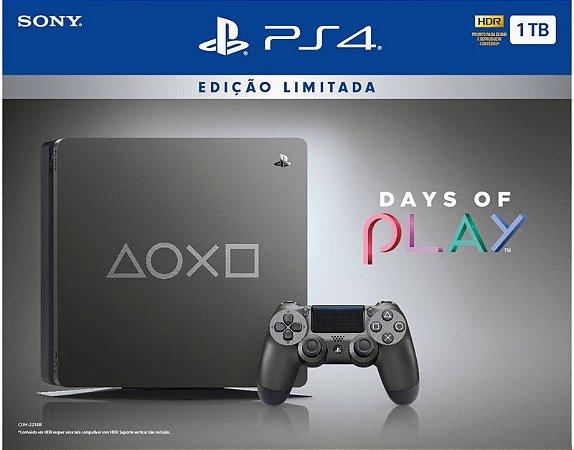 Ps4 Slim 1TB Edição Days of Play USADO + 3 JOGOS