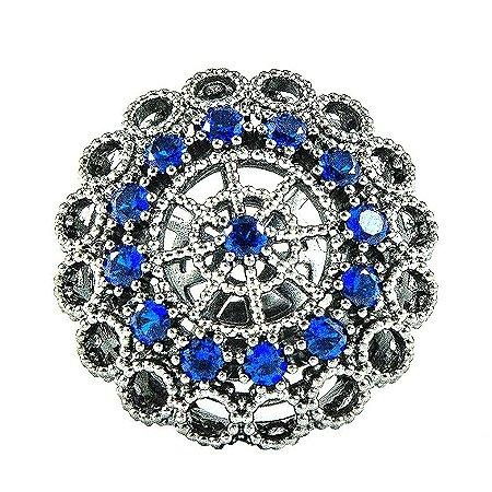 Anel Ródio Negro com Pedras Azuis Safira Semi joias