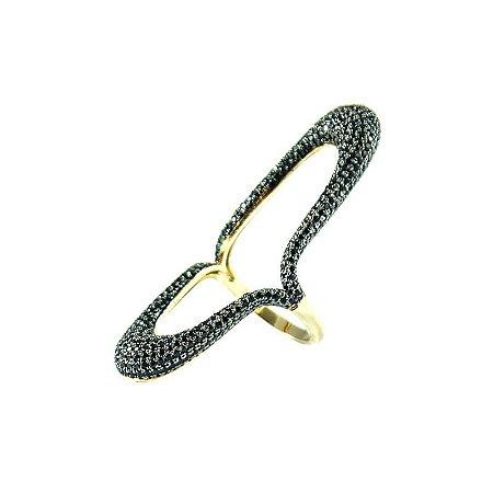 Anel da Moda Zircônia Ródio Negro com Textura Semi joias