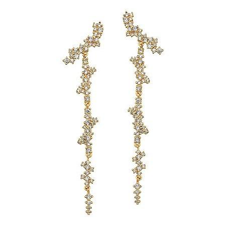 Brinco Folheado a Ouro 18k Cravejado Semi joias de Luxo - Semi Joias ... 75e984e113