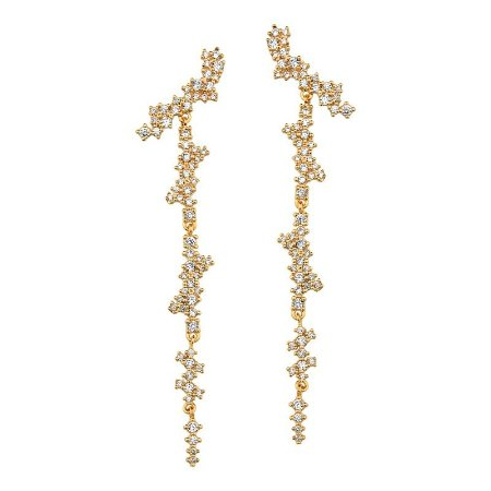 Brinco Folheado a Ouro 18k Cravejado Semi joias de Luxo