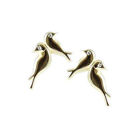 Brinco Pequeno Pássaro Dourado Semi Joias