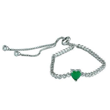 Pulseira Coração Esmeralda Ajustável Ródio