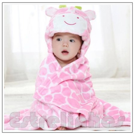 Cobertor c/ Capuz - Girafa Rosinha
