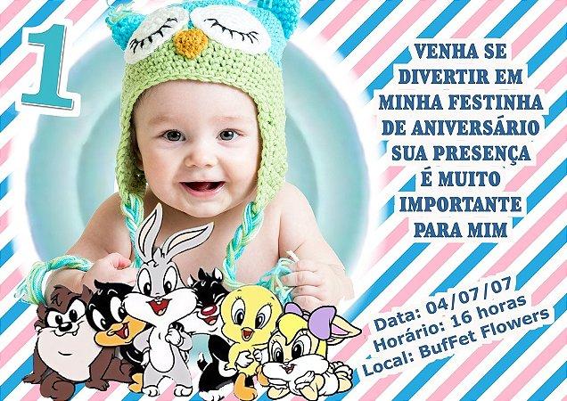 Convite digital personalizado Baby Looney Tunes 002