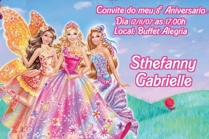 Convite digital personalizado da Barbie 036