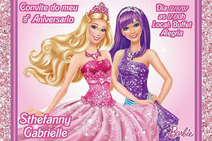 Convite digital personalizado da Barbie 042