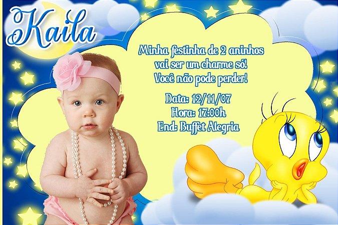 Convite digital personalizado Piu-piu Tweety 006