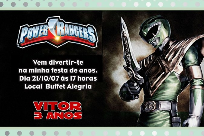 Convite digital personalizado Power Rangers 006