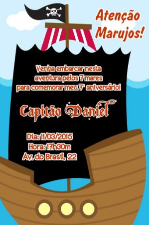 Convite digital personalizado Piratas 012