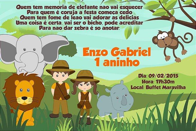Convite digital personalizado Safari 007
