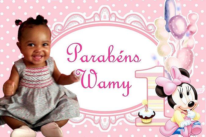 Painel personalizado 1,50 m x 1 m Minnie Baby