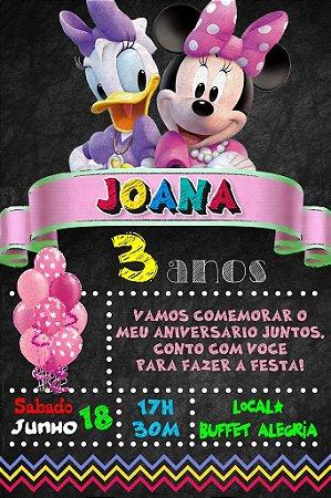 Convite digital quadro (Chalkboard) Minnie Bow-tique 002