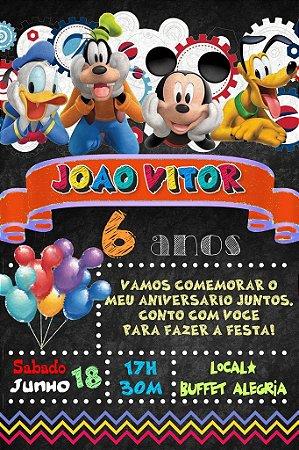 Convite digital quadro (Chalkboard) A Casa do Mickey Mouse 024