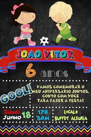 Convite digital quadro (Chalkboard) Futebol 086