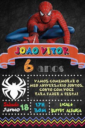 Convite digital quadro (Chalkboard) Homem Aranha 091
